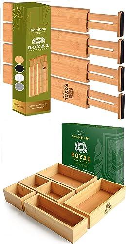 2021 Adjustable Drawer outlet online sale Dividers22IN and online sale Storage Box Set of 5 outlet online sale