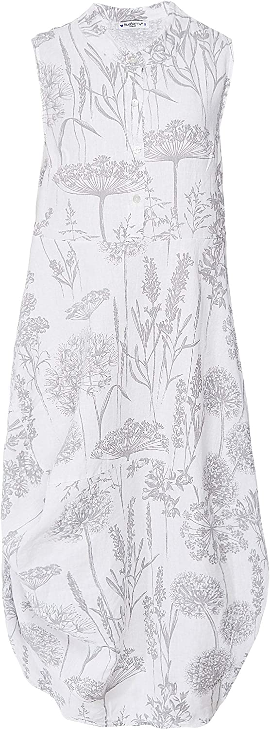 blueeberry Italia Women's Linen Wildflower Print Dress White