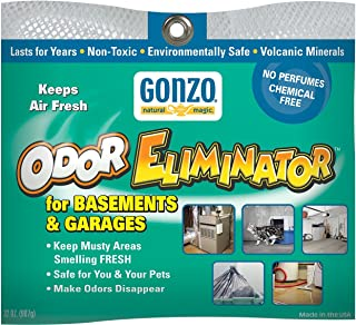 Gonzo Odor Eliminator - for Basement and Garage, All Natural, Non-Toxic, Safe for Pets and Children, Fragrance Free, Chemical Free, Reusable - 32 oz. Bag