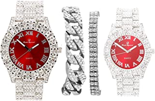 Bling'ed Out King and Queen Hip Hop Watch Set Perfect for Power Couples to Flaunt On and Off The Dance Floor - ST10325/ST10364 His and Hers
