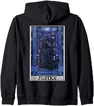 Justice Tarot Card Grim Reaper Halloween Gothic Clothing Zip Hoodie