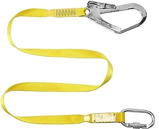 Safety Lanyard,Outdoor Climbing Harness Belt Lanyard Fall Protection Rope Large Snap Hooks, Carabineer (Yellow 2)