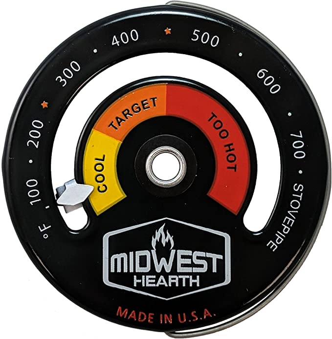 1*Magnetic Wood Stove Thermometer Heat Powered Temperature Gauge For Burning New