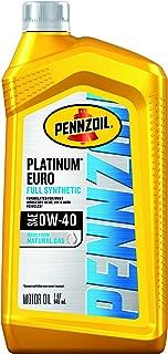 Pennzoil 550051113-6PK Platinum Euro Full Synthetic 0W-40 Motor Oil, 1 Quart, 6 Pack