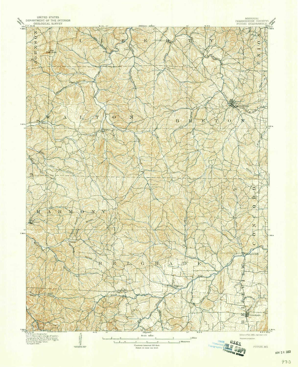 Updated 1939 1:62500 Scale 15 X 15 Minute Historical 21.1 x 17.1 in YellowMaps Potosi MO topo map 1906