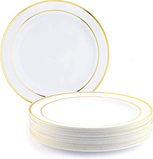 Matana - 25 premium multi-användning plast middagstallrikar med guldkant - 26 cm