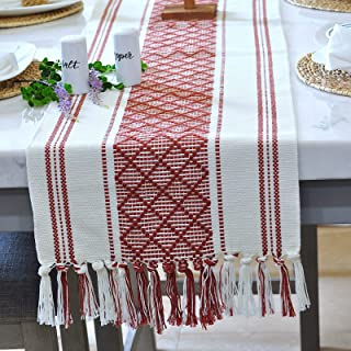 Oveesha Boho Dining Table Runner with Tassel 70 x 14 Inches, Brick Red & Cream/Woven Washable Dresser Runner and Topper fo...