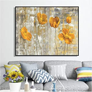 Print On Canvas Abstract Yellow Flowers Wall Art Posters And Prints Pictures For Living Room Home Modern Decor Microjet Ar...