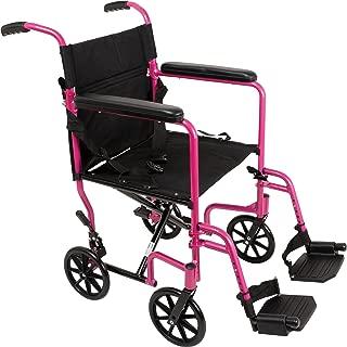 "ProBasics Aluminum Transport Wheelchair - 19"" Wheel Chair Transport Chair - Pink"
