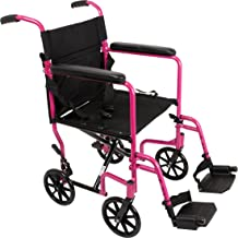 "ProBasics Aluminum Transport Wheelchair - 19"" Wheel Chair Transport Chair - Pink"