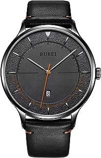 BUREI Unisex Quartz Slim Minimalist Designer Date Wrist Watches with Leather & Mesh Band