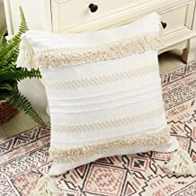 Ailsan Boho Decorative Accent Pillow Covers Neutral Throw Woven Tribal Tufted Pillow Case with Tassels,Pillow Sham Cushion Cover for Farmhous Party Bedroom Living Room Outdoor