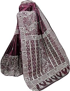 بلوزة الساري النسائية الهندية من WINE مع الحرير بانغالور الممزوج للجسم بالكامل من قماش الكنثا منسوج يدويًا 910a