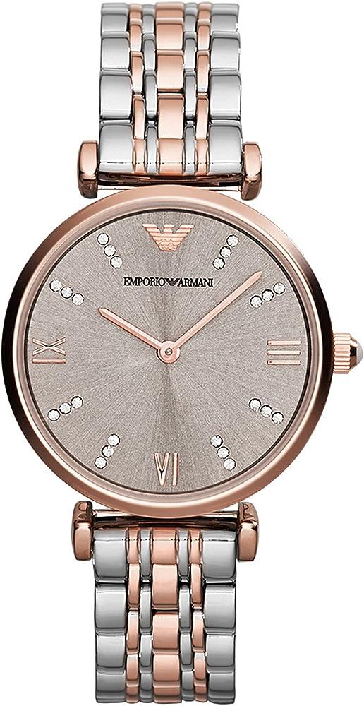 Emporio armani ,orologio per donna,in acciaio inossidabile bicolore e cristalli AR1840