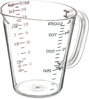 Carlisle 4314307 Commercial Plastic Measuring Cup, 1 Quart, Clear