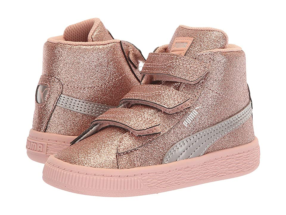 Puma Kids Basket Mid Strap Glitz V Inf (Toddler) (Peach Beige) Girls Shoes