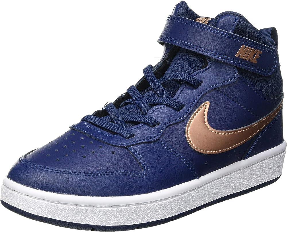 Nike court borough mid 2 (psv), scarpe da basket unisex-bambini,sneakers alte,in pelle CD7783-001