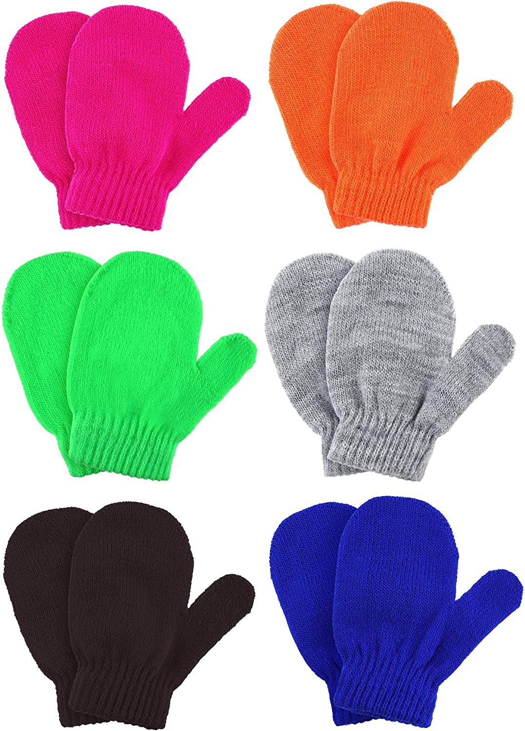 Boao 6 Pairs Winter Warm Knitted Mittens Gloves Stretch Mittens for Christmas Party Kids Toddler Supplies