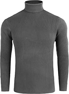 FISOUL Men's Casual Basic Ribbed Slim Fit Knitted Pullover Turtleneck Thermal Sweater