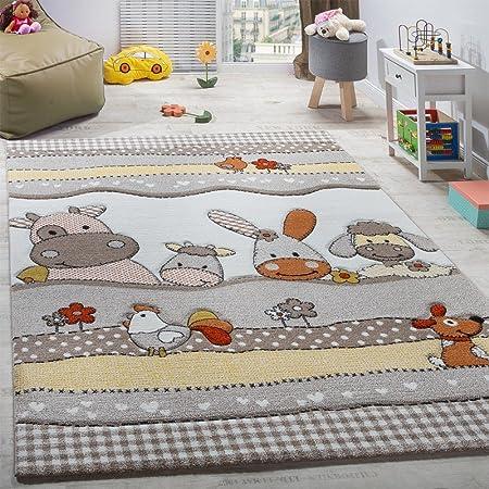 Paco Home Tappeto per Bambini per Cameretta con Divertenti Animali della Fattoria Taglio Sagomato Beige Grigio, Dimensione:120x170 cm