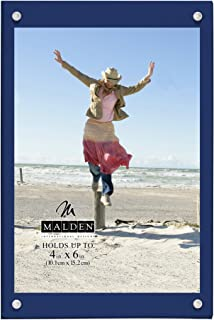 Malden International Designs Infinity Navy Wood Block with Magnetic Acrylic Front Picture Frame, 4x6, Navy