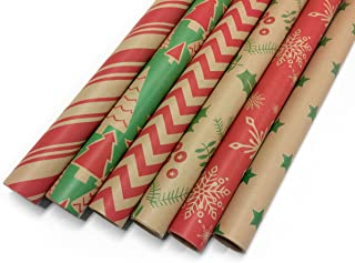 Kraft Christmas Wrapping Paper Bundle Set - Craft Minimalist Rustic Look - 6 Rolls, Multiple Classic Red and Green Holiday Patterns - Great for Crafts, Holiday, Birthday Gifts - 30