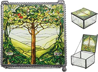 Ebros Louis Comfort Tiffany Northrop Memorial Window Collection Tree of Life Stained Glass Art Jewelry Box As Small Storage Solution Knick Knack Container Celtic Decoration and Gift Idea