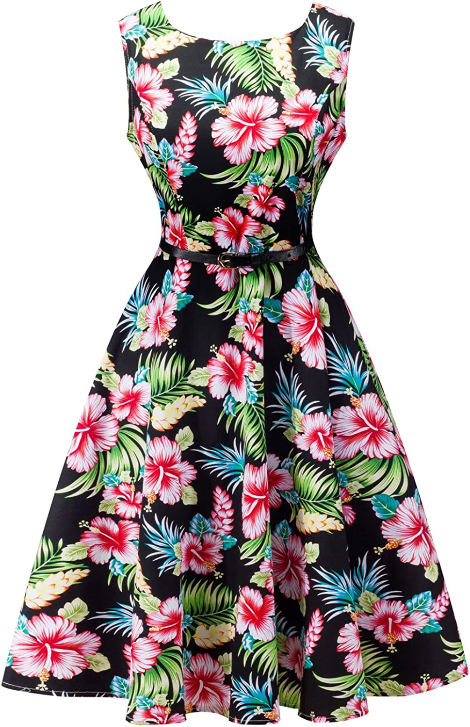 Lentta Women's Summer Knee Length Sleeveless Floral Pleated Hawaii Party Dress