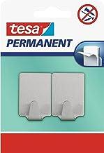 tesa H6661300 66613-0000-00 permanente haak rechthoekig metaal, grijs, 66613000000, Large