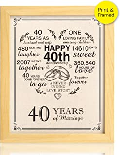 Ihopes Framed 40th Anniversary Heart Burlap Print Decorations, 40 Years Wedding for Men, for Women, for Couple, 8x10inch