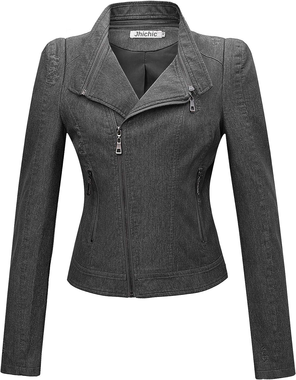 Jhichic High material Women's Denim-Like Faux Leather Moto Max 56% OFF Jacket Biker Classi