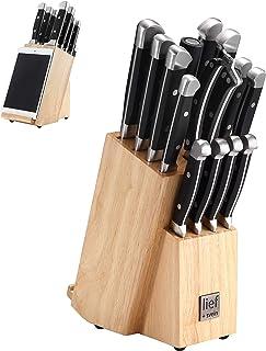 Lief + Svein German Steel Knife Block Set, 15-Piece Kitchen Knife Sets. German Stainless 1.4116 Steel. Unique Kitchen Kniv...