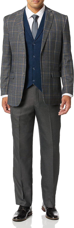 STACY ADAMS Men's 4-Piece Notch Lapel Plaid Vested Suit with 2 Pants