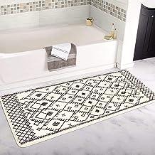 Uphome Extra Long Bath Rug Runner Moroccan Modern Geometric Velvet Bath Mat 24x59 inch Boho Tribal Non-Slip Bathroom Rugs ...