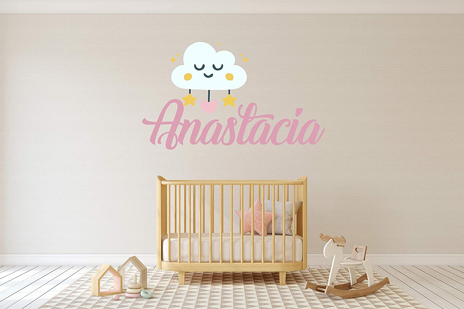 Tucson Mall Personalized Girl Name with Cloud Atlanta Mall Baby and - Nursery Star