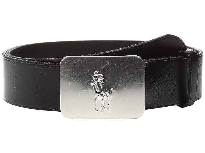 Polo Ralph Lauren Kids Vacchetta-1 5/8 Pony Plaque (Black/Brown) Boy
