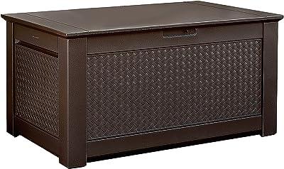 Rubbermaid Decorative Patio Chic Weather Resistant Outdoor Storage Deck Box Bench, Dark Teak