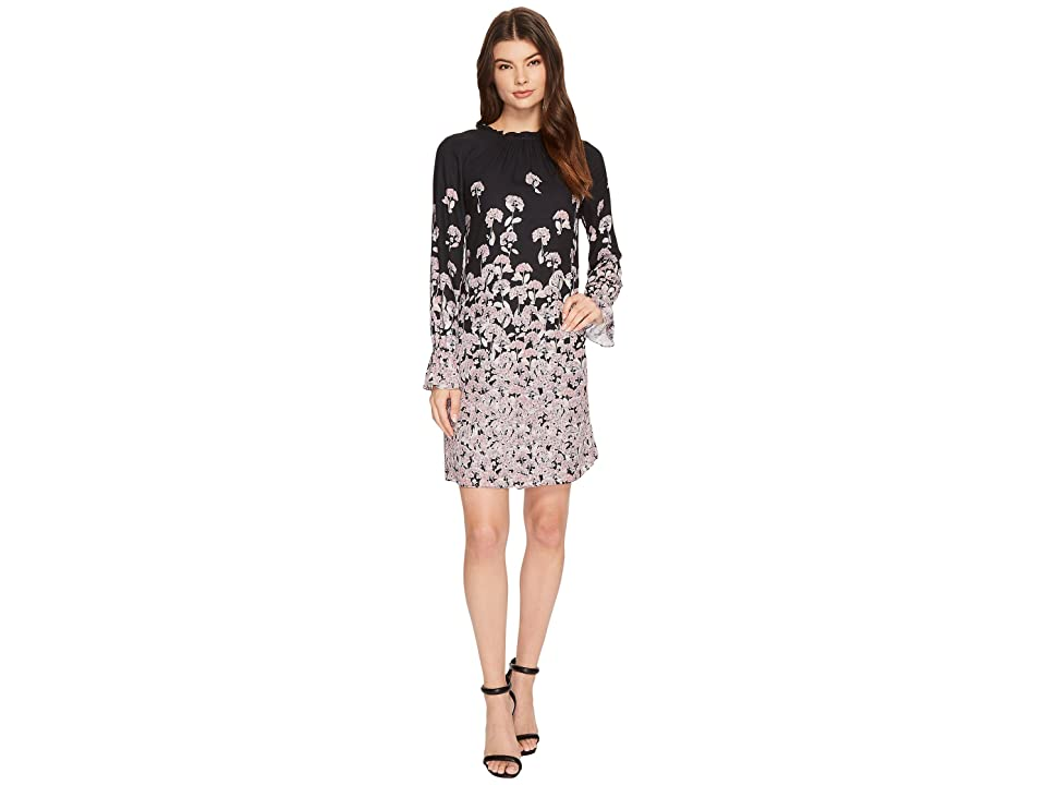 CeCe Wisteria Fields Border Ruched Neck Dress (Rich Black) Women