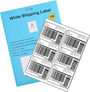 Self Adhesive Shipping Label, White Blank Labels for Laser or Inkjet, Pack of 150