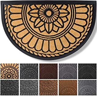 Mibao Half Round Door Mat, Non-Slip Welcome Entrance Way Rug, Super Durable Low-Profile Easy to Clean Front Outdoor Heavy Duty Doormat for High Traffic Area, 24