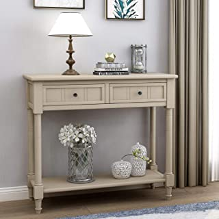 Wood Console Sofa Table with Drawer and Bottom Shelf, WeYoung Daisy Series Entryway Table for Living Room (Retro Grey)