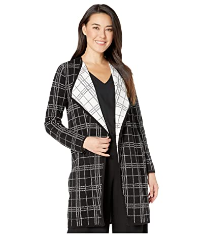 Vince Camuto Specialty Size Petite Long Sleeve Plaid Open Front Maxi Cardigan (Rich Black) Women