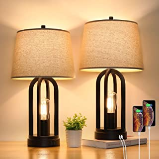 Set of 2 Industrial Black Table Lamps with Touch Control&Rotary Switch, 3-Way Dimmable Modern Bedside Nightstand Lamps wit...