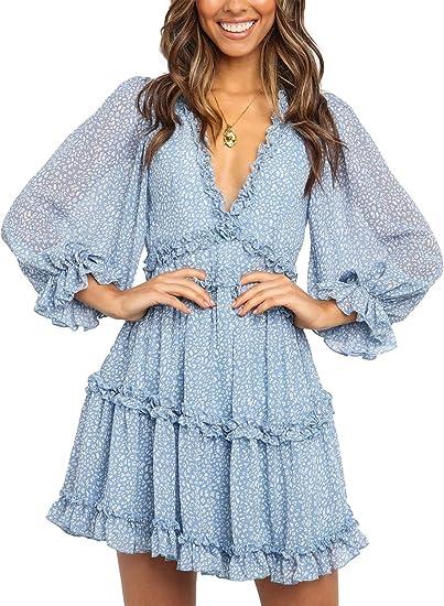 blue boho dress long arms
