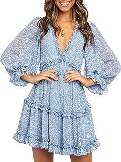 Womens Spring Summer Deep V Neck Ruffle Long Sleeve Floral Print Mini Dress