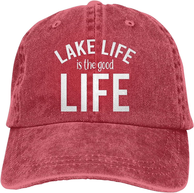 Cellova Lake Life is The Good Life Hat, Adjustable Baseball Cap Men Women Washable Cotton Trucker Cap Dad Hat