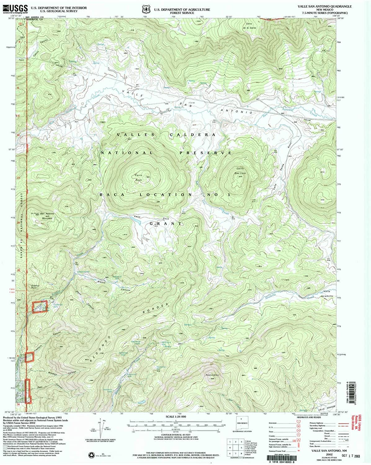 Valle San Antonio NM topo map, 1 24000 Scale, 7.5 X 7.5 Minute, Historical, 2002, Updated 2003, 27 x 22 in
