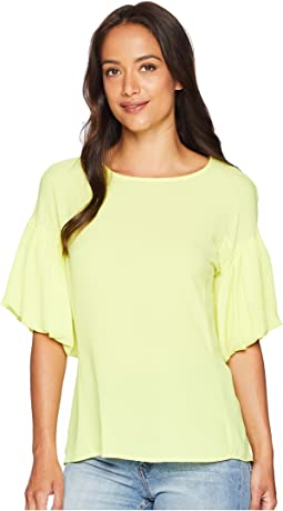 Bubble Sleeve Soft Texture Blouse