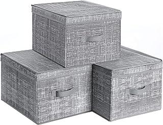SONGMICS RYFB03LG zestaw 3 sztuk pudełko do przechowywania z pokrywką, składane pudełka z materiału z uchwytem na etykiet...