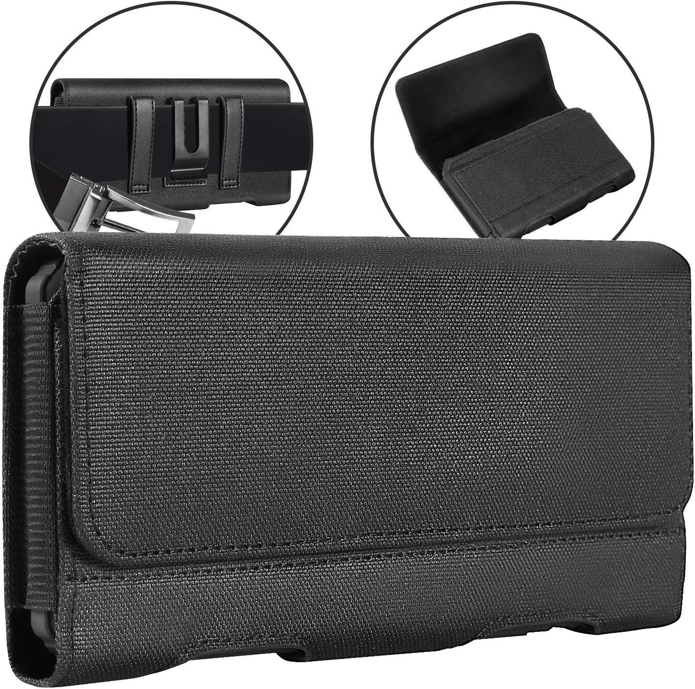 BECPLT for Galaxy S21+ 5G Belt Clip Case, Nylon Belt Clip Case Holster Pouch Holder Cover for Moto G8 Plus Samsung Galaxy M21s S20 FE 5G A51 5G A50 A30 A20 - Built in ID Card Slot Wallet Case - Black